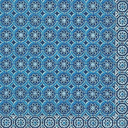 Boston International L776640 IHR Paper Lunch Napkins, 6.5 x 6.5, Marrakech Blue