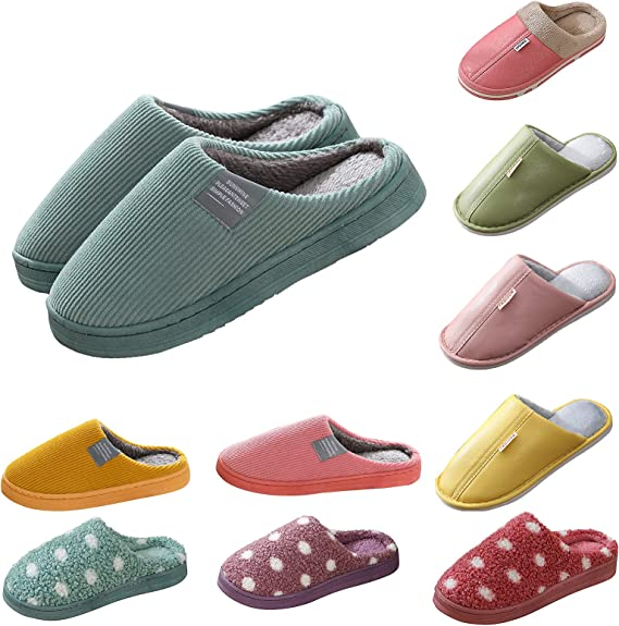 Womens Fashion Anti-Skid Sole Slippers, Soft Plush Comfy Fuzzy Warm Slip-on Slippers, Indoor House Casual Slipper