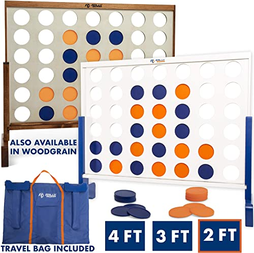 Giant 4 in A Row, 4 to Score - Premium Wooden Four Connect Game Set in 4' Wood Grain by Rally & Roar - Oversized Fami...