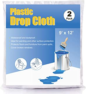 ComfortHome 2 Pack 2 Mil Plastic Drop Cloth for Painting and Surface Protection, Plastic Sheeting, 9 Feet × 12 Feet
