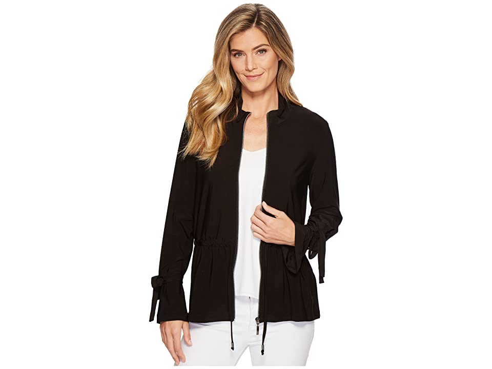Tribal Pack and Go Travel Jersey Zip Front Jacket with Drawstring (Black) Women