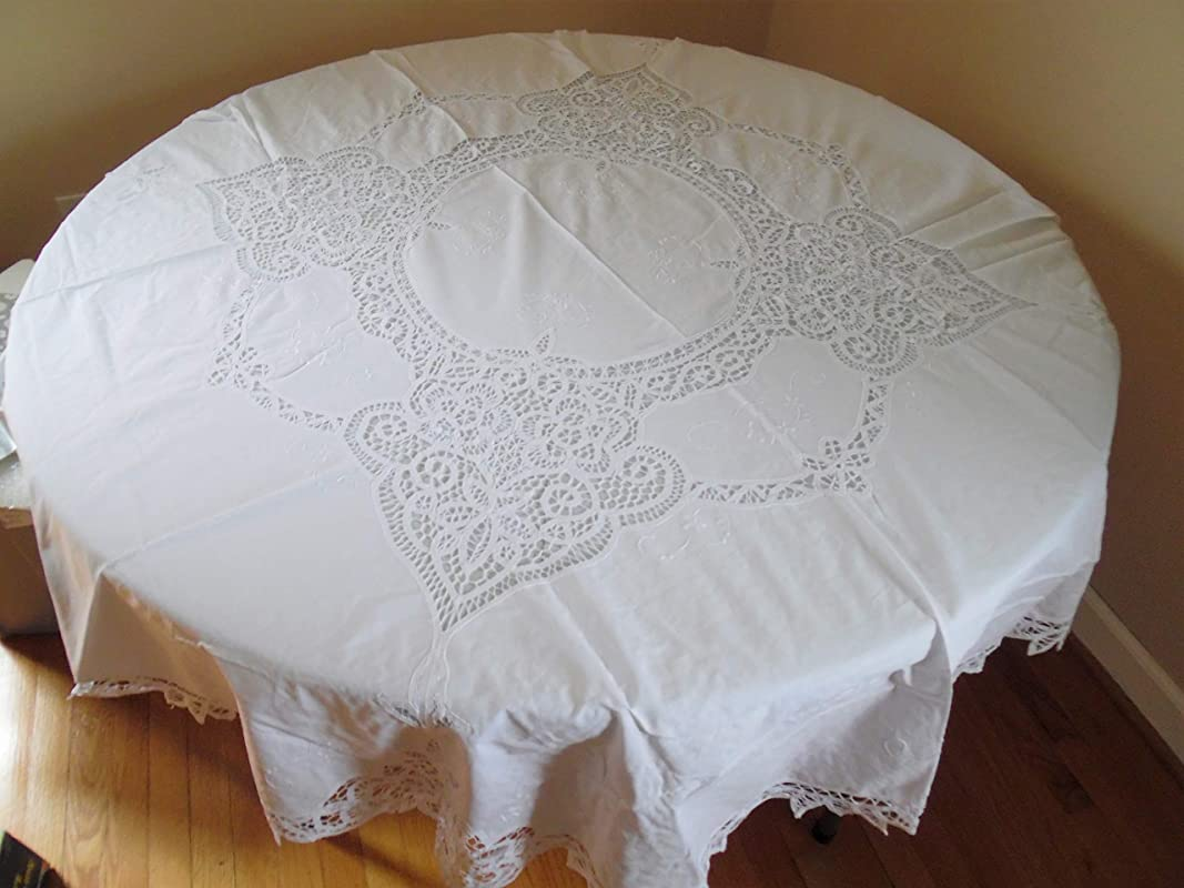 60 Round White Cotton Tablecloth With Battenburg Lace And 8 Napkins