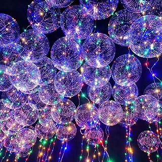LEDMOMO Globos LED, globos de luz de 20 pulgadas Globos transparentes de luz intermitente con alambre de cobre de 3m y barra de luces LED (colorida)