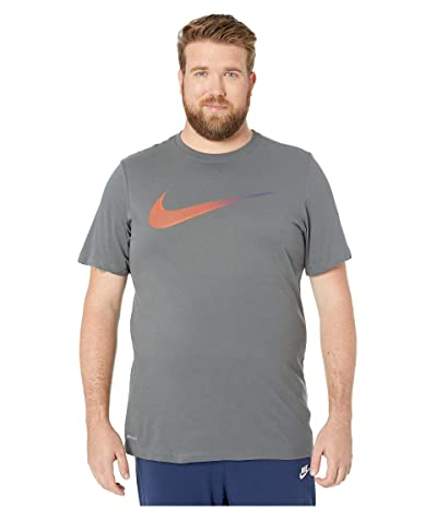 Nike Big Tall Dry Tee Dri-FITtm Cotton 2 Year Swoosh (Iron Grey/Team Orange) Men