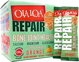 Ola Loa Repair Orange Multivitamin Drink Mix - Daily Bone & Joint Supplement, Calcium, Magnesium, Glucosamine, Anti-Aging ...