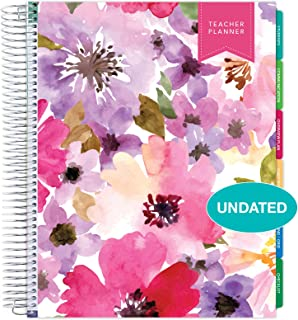 """$32 » Deluxe Undated Teacher Planner: 8.5""""x11"""" Includes 7 Periods, Page Tabs, Bookmark, Planning Stickers, Pocket Folder Daily Weekly Monthly Planner Yearly Agenda (Spring Floral)"""