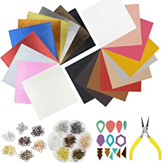 """10pcs Metallic Faux Leather Sheets + 10pcs Double Sided Litchi Synthetic Leather Fabric Sheets(6""""x 6"""") with 140pcs Earring Hooks, 140pcs Jump Rings, Pliers and Cut Molds for Earring Making Crafts"""