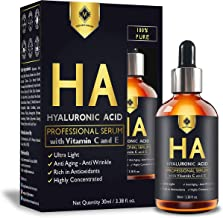 MOUNTAINOR BEST NATURAL HYALURONIC ACID FACIAL SERUM WITH VITAMIN C,E 30ML. HIGHEST QUALITY SERUM FOR ANTI AGING, WRINKLE, UNDER EYE DARK CIRCLES, SKIN BRIGHTENING, MOISTURE, HYDRATING AND PLUMP SKIN.