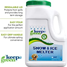 KEEP IT GREEN Nontoxic Snow and Ice Melter – Child and Pet Safe Ice Melt Rock Salt Pellets with Time Release Fertilizer for Grass and Garden – Green Tint (12 Pound Jug)