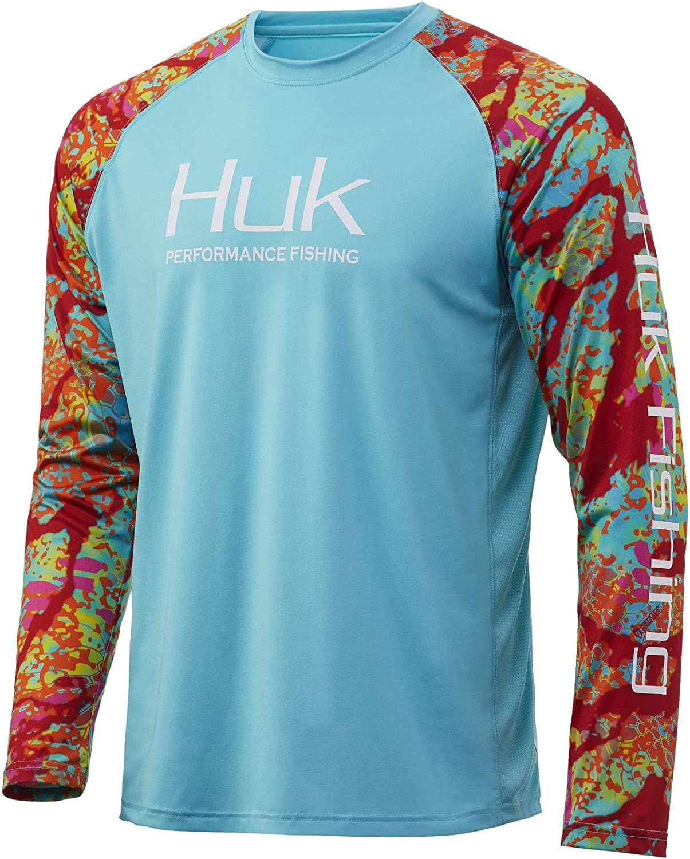 HUK Performance Fishing Mens Huk Double Header Vented Long Sleeve Shirt