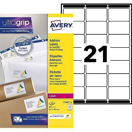 AVERY - Pochette de 840 étiquettes d'adressage autocollantes, Personnalisables et imprimables, Format 63,5 x 38,1 mm, Impression laser, (L7160-40)