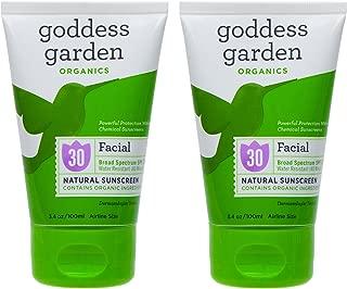 Goddess Garden Facial Natural SPF30 Sunscreen (Pack of 2) with Aloe Vera, Shea Butter, Safflower Seed Oil, Lavender Oil, Immortelle Oil and Vitamin E, 3.4 oz