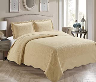 Home Collection 3 Piece Full/Queen Over Size Embossed Solid Beige Color Coverlet Bedspread New # Veronica