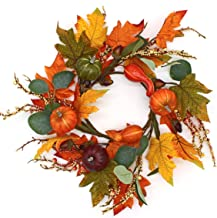 CVHOMEDECO. Primitives Rustic 14 Inch Artificial Pumpkins Wreath with Fall Maple Leaves and Berry, Harvest Festival Wreath...
