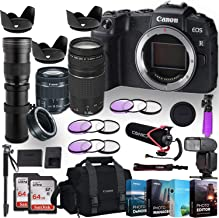 Canon EOS RP Mirrorless Digital Camera w/ 3 Lenses + Canon Adapter Bundle (EF-S 18-55mm f/4-5.6 is STM Lens, EF 75-300mm f/4-5.6 III, 420-800mm Zoom Lens) with Pro Accessory Kit