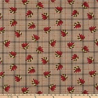 Benartex Another Moose is Loose Cardinal with Plaid Tan Fabric