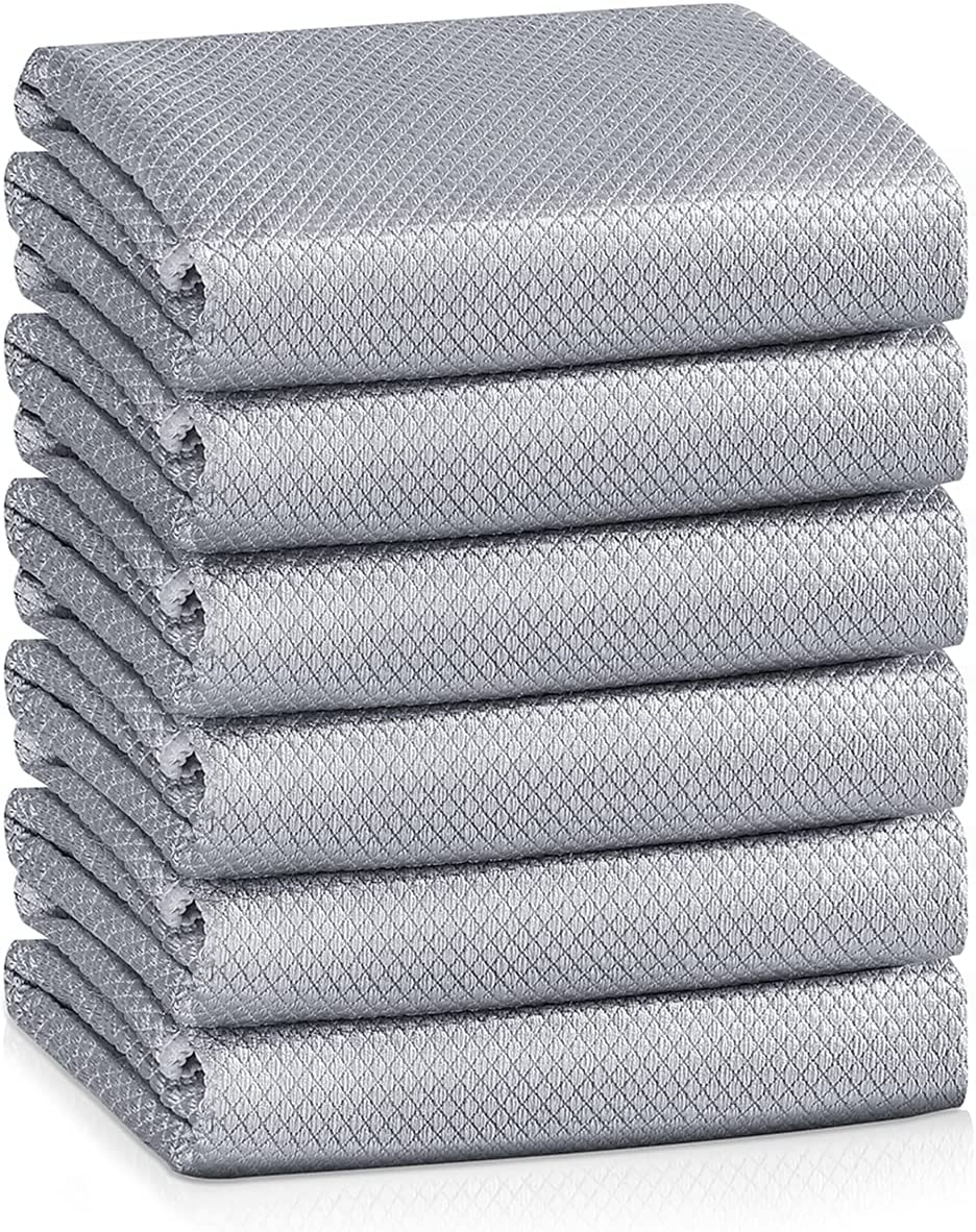 Easy Clean Fish Scale Nanoscale Cleaning Cloth,Streak Free Microfiber Glass Cleaning Cloths for Window Mirrors Windshields,Lint Free Microfiber Polishing Cleaning All-Purpose Towel Pack of 6(Grey)