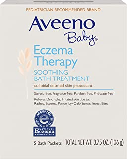 (4 Pack) Aveeno Baby Eczema Therapy Soothing Baby Bath Treatment, 5 Count-3.75oz
