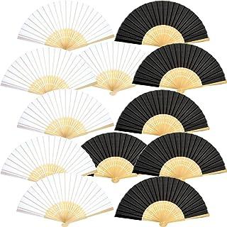 Yellodoor Abanicos de mano de seda de bambú plegables para regalo de boda de iglesia, regalos de fiesta y decoración DIY Pack de 2 Blanco y negro