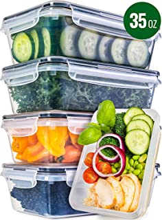 Food Storage Containers with Lids - Food Containers with Lids Plastic Containers with Lids [5 Pack, 35 Ounce] - Leak Proof Lunch Containers Plastic Storage Containers with Lids - Meal Prep Containers