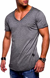 Muzboo Mens Casual Solid Color Slim T-Shirt V-Neck Basic Tops