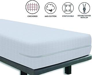 Tural – Funda de colchón elástica con Cremallera y Tejido con diseño damero. Rizo 100% Algodón. Talla 60x120