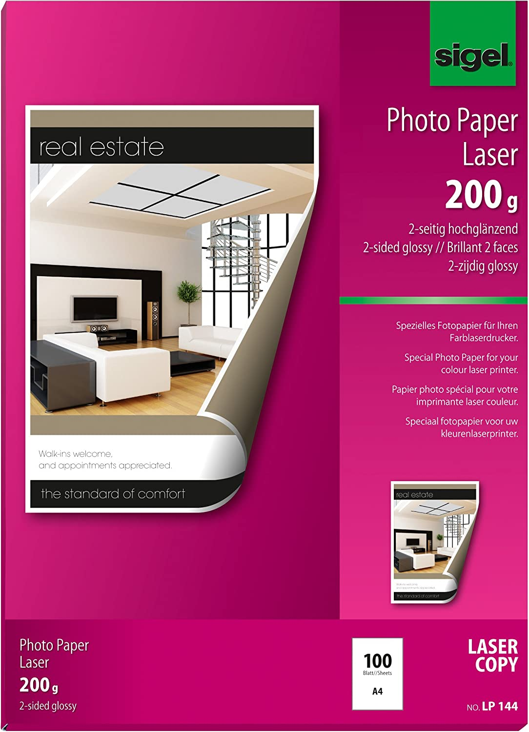 Sigel LP144 Photo Paper Sale for Colour Copier 2-sided Max 57% OFF glossy Laser