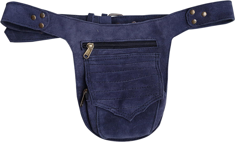 Leather Utility Belt   Dark Greybluee Suede, 3 pocket   hip bag, travel, festival, fits iPhone
