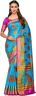 Kupinda Art Kalamkari Prints Saree with ikkat, pochampally and Kanjivaram Print Pattren ith Contrast Blouse Color: Turquoise (4257-RP6-SALN-19-AND)