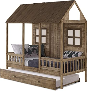 Donco Kids Front Porch Low w/Twin Trundle Bed, Rustic Driftwood Loft
