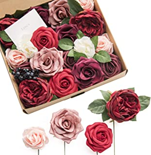 Ling's moment Dark Red Burgundy Artificial Wedding Flowers Combo for Bouquets Wedding Centerpieces Flower Arrangements Decorations (Moody Burgundy)