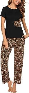 Women's Pajama Set Short Sleeve Tops and Pants 2 Pcs Pj...