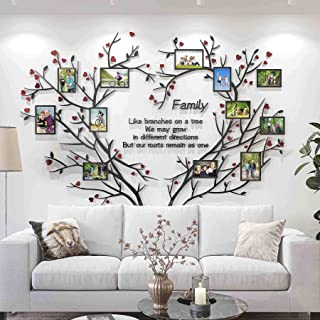 DecorSmart Love Family Tree Wall Decor Picture Frame Collage Removable 3D DIY Acrylic Wall Stickers for Living Room with R...
