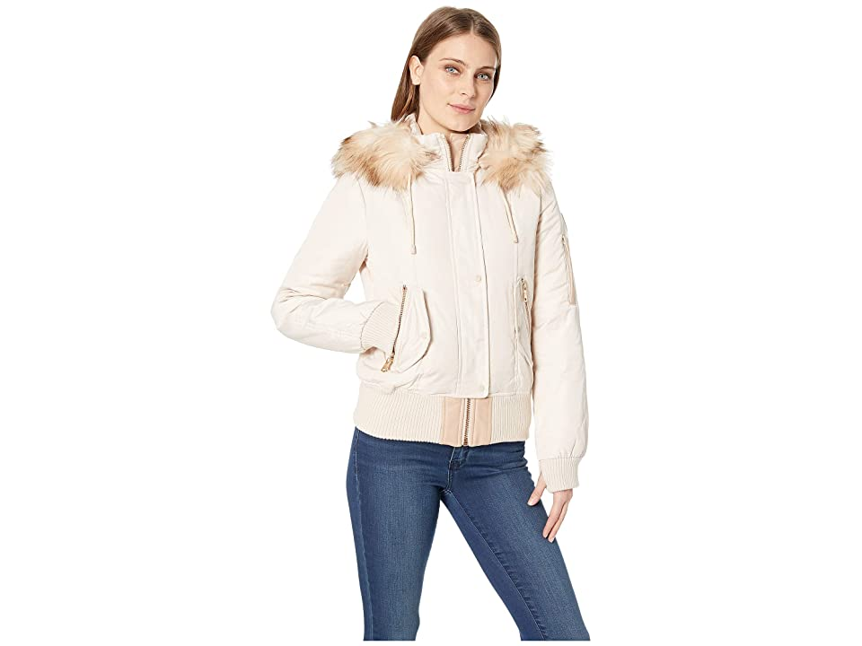 Vince Camuto Short Bomber Down Jacket with Faux Fur Hood R1881 (Blush) Women