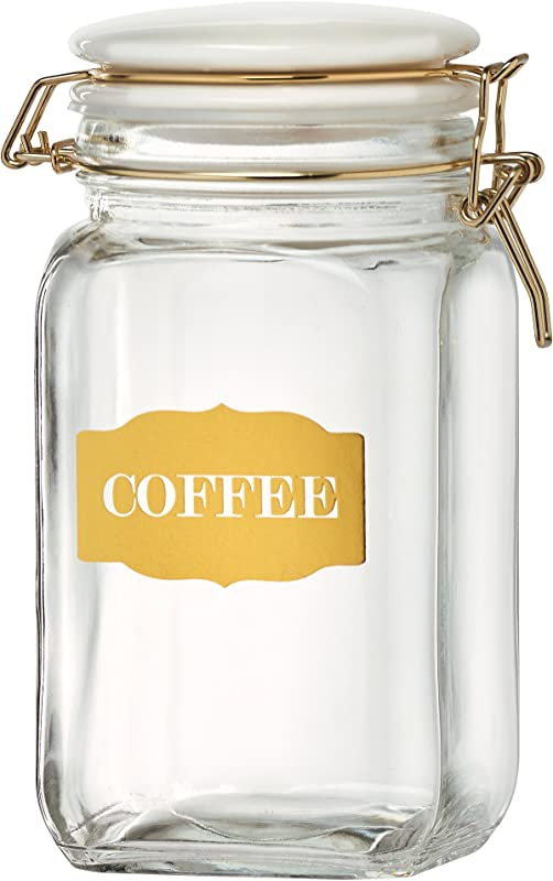 Amici Home A7CA977R Sunrise Collection Coffee Glass Hermetic Preserving Storage Canister Food Safe Gold Metal Clips 54 Ounces