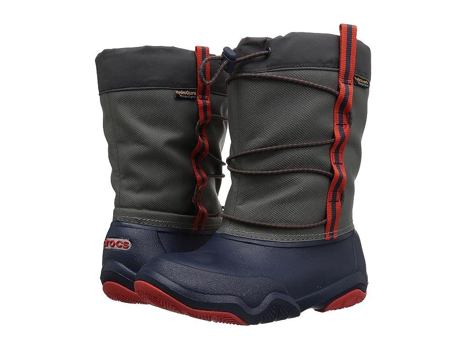 Crocs Kids Swiftwater Waterproof Boot (Toddler/Little Kid) (Navy/Flame) Kids Shoes
