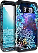 Casetego Compatible Galaxy S8 Case,Floral Three Layer Heavy Duty Hybrid Sturdy Armor Shockproof Full Body Protective Cover Case for Samsung Galaxy S8,Mandala