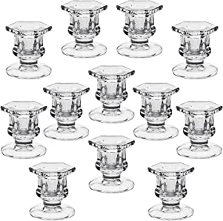 """YiSeyruo Candle Holder for Taper Candles: Clear Glass Candle Holders for 7/8"""" Taper Candle Decorative Candle Stand for Tab..."""