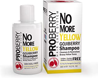 Goji Berry No Yellow Purple Toning Shampoo: Brighten Blonde, Silver & Highlighted Hair - Violet Shampoo Instantly Clean & Neutralize Brassy Yellow Tones - Sulfate, Paraben & Sodium Chloride Free - 10.2 OZ
