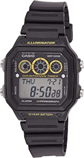 Casio AE-1300WH-1AV Black and Yellow Youth Series Chronograph Digital Sports Watch