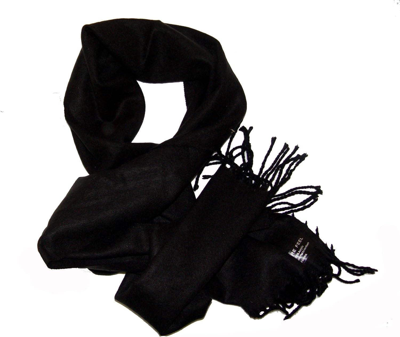 Warm Cashmere Feel Solid Black Scarf