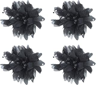 Confidence Fabric Hair Flower Rose Clips For Women (Set of 4) Black Color Pack of 1