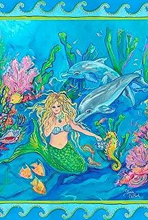 Toland Home Garden Mermaid Meeting 12.5 x 18 Inch Decorative Tropical Ocean Reef Dolphin Fish Garden Flag
