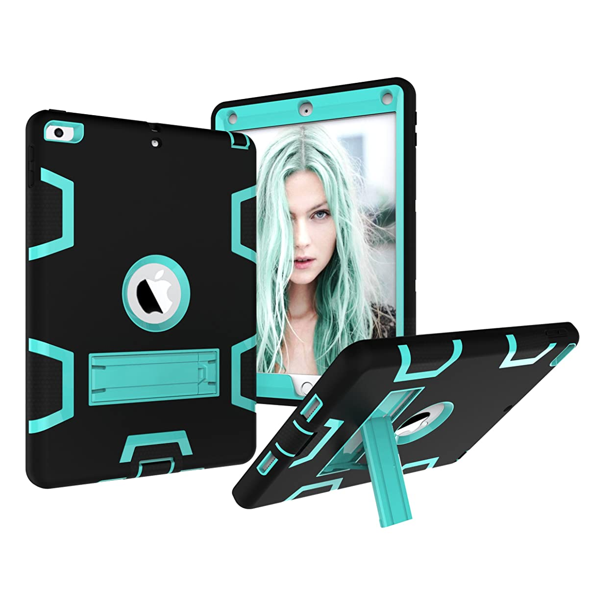 iPad 9.7 Case 2018/2017, Dooge Three Layers PC&Silicon Armor Defender Heavy Duty Shock-Absorption Rugged Hybrid Full Body Protective Case with Kickstand for Apple iPad 9.7 inch 2017/2018 Release