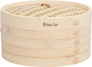 Helen's Asian Kitchen 97010 Food Steamer with Lid, 12-Inch, Natural Bamboo