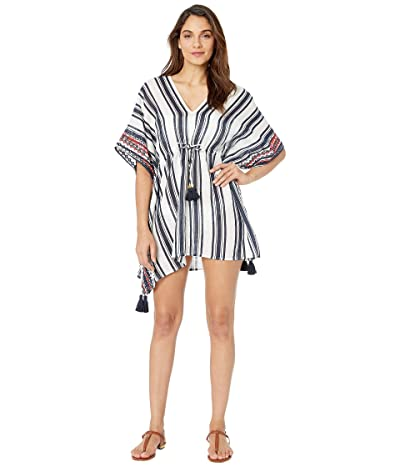 Tory Burch Swimwear Ravena Awning Stripe Beach Caftan Cover-Up (Bold Awning Stripe) Women