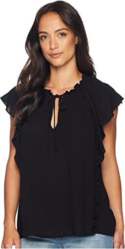 Extended Flutter Sleeve Ruffled Blouse with Tie