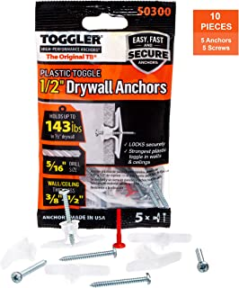 TOGGLER Toggle TB Residential Drywall Anchor with Screws, Polypropylene, Made in US, 3/8