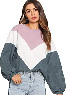 ROMWE Women's Loose Colorblock Sweatshirt Lantern Sleeve Round Neck Pullover Tops
