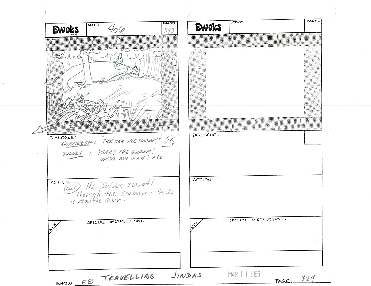 Star Max 43% OFF Wars Ewoks Sales results No. 1 Original Production Lucasfilm Storyboard from an